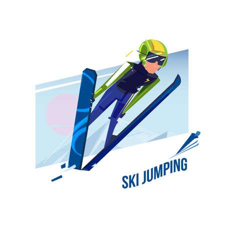 Salto de esquí, concepto de deporte de invierno - ilustración vectorial Foto de archivo - 97268844