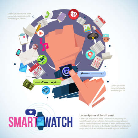Businessman hand with smartwatch and app icons  graphic elements.