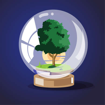 tree with sunset in glass ball. save the tree concept - vector illustration