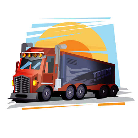 truck with sunset - vector illustration Illustration