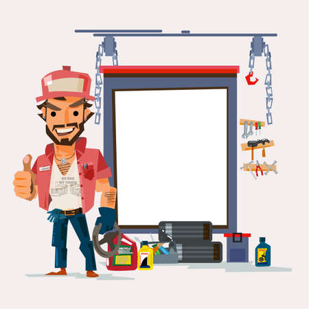 Truck driver with big truck. character design trucker concept - vector illustration