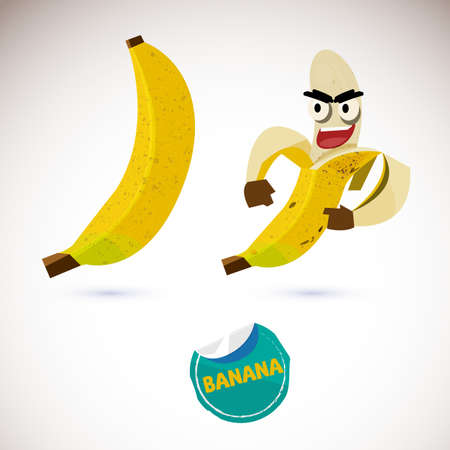 Illustration of a peeled cartoon banana character and a covered banana.