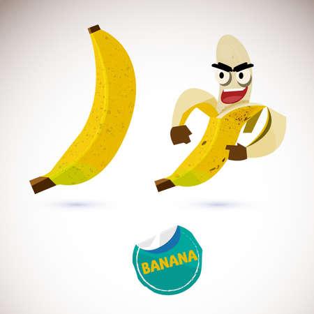 Illustration of a peeled cartoon banana character and a covered banana.