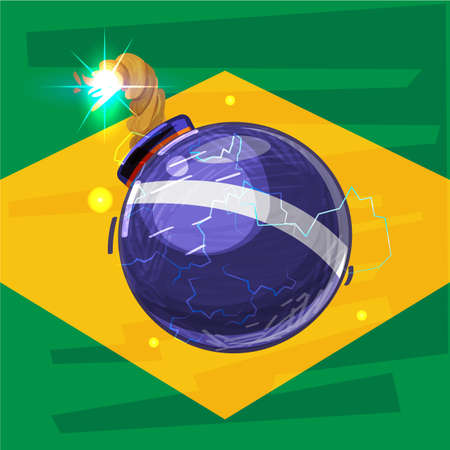 brazil crisis concept. bomb and brazil flag - vector illustration