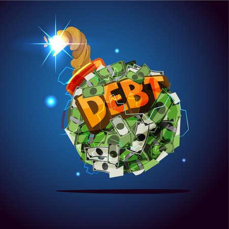 """Geldbom met """"schuld"""" tekst. schuldencrisis concept - vectorillustratie"""
