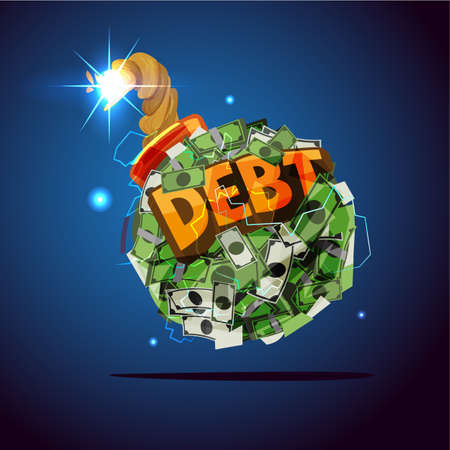 Money bomb with debt text. debt crisis concept - vector illustration
