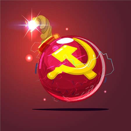Bombe avec le drapeau soviétique ou urss - illustration vectorielle Banque d'images - 97495101