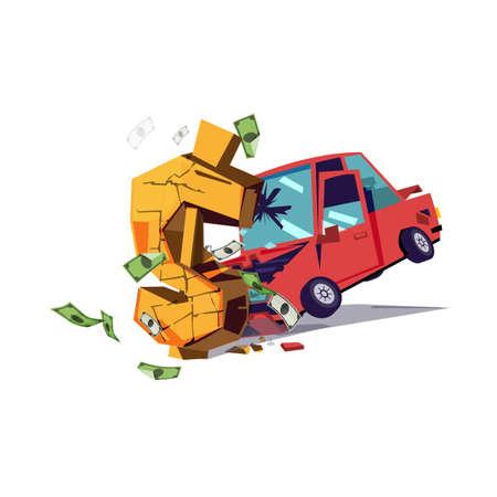 Coche golpeó el icono de dinero en dólares. Deuda por concepto de automóvil - ilustración vectorial Foto de archivo - 97495095