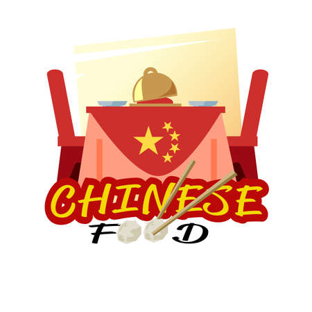 Chinese dishes. Chinese food on restaurant table with typographic. logotype. Asian food concept - vector illustration Illustration