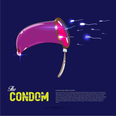 condom like a net catching sperm sperm. sperm charcher concept - vector illustration Illustration