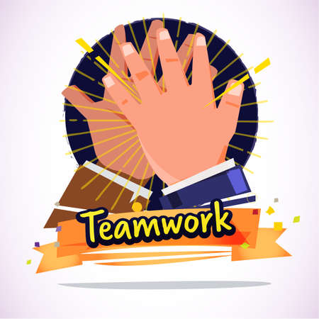 Businessman Clapping Hands Each Other. deal or teamwork concept - vector illustration