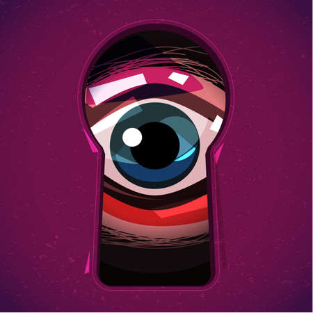 Human eye Looking through a keyhole. Eyes can see you concept. horror or halloween - vector illustration