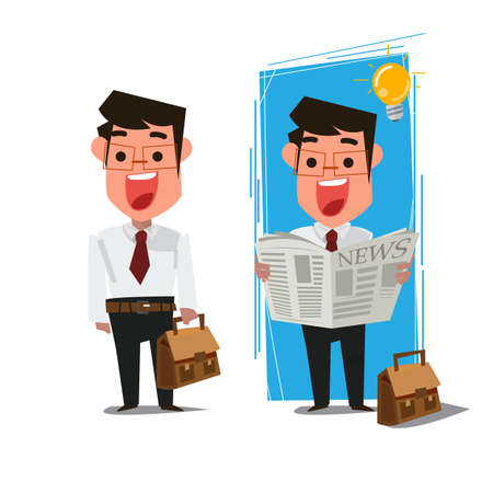 businessman reading newspaper. character deisign - vector illustration