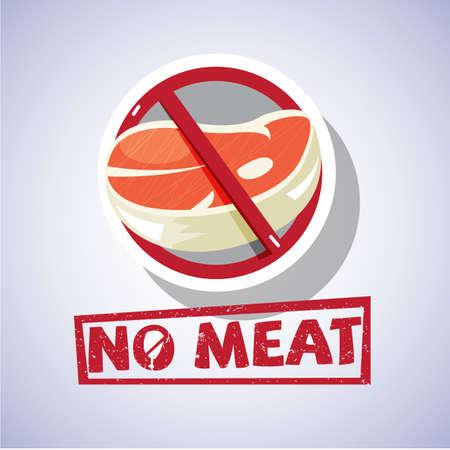Geen vlees teken concept - vector afbeelding