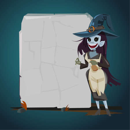 witch with blank stone for presentation. character design. magic concept - vector illustration
