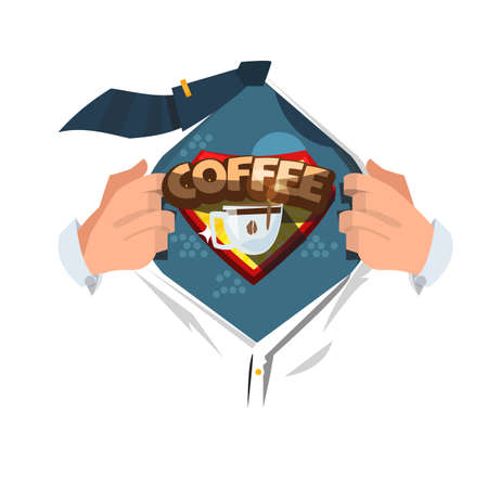 man open shirt to show coffee logotyle in comic style. power of coffee concept - vector illustration Illustration