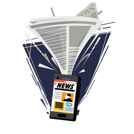 Newspaper attracting into smartphone. digital news in smartphone or tablet. Ebook concept - vector illustration