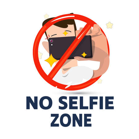 Male holding smartphone to selfie in stop symbol. no selfie zone concept - vector illustration