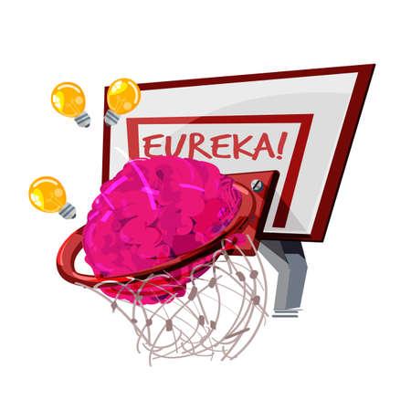 Human brain in the basketball ring vector illustration