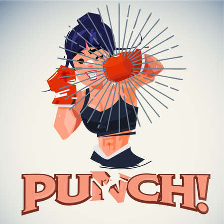 A boxing girl in punching action vector illustration Vettoriali