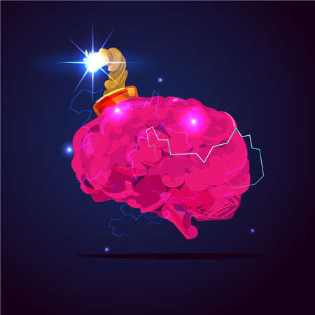 Brain bomb in mind explosion concept vector illustration