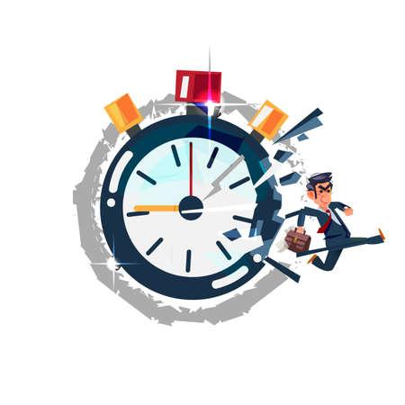 タイマークロックを使い果たしているビジネスマン。時間の概念を破る - ベクトルイラスト