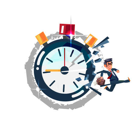 Businessman running out of timer clock. break the times concept - vector illustration Çizim