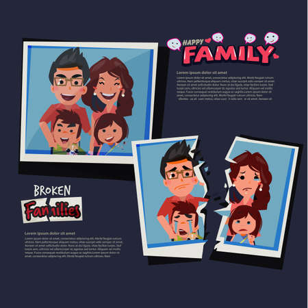 Torn paper with picture of sad family. Broken family concept - vector illustration