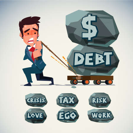 businessman pull trolley with heavy stone of money debt. life crisis and cash problem text on stone . editable - vector illustration