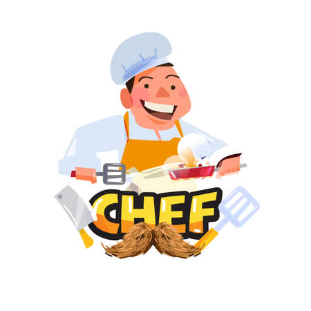 chef character with typographic. cooking or chef logo - vector illustration Vettoriali