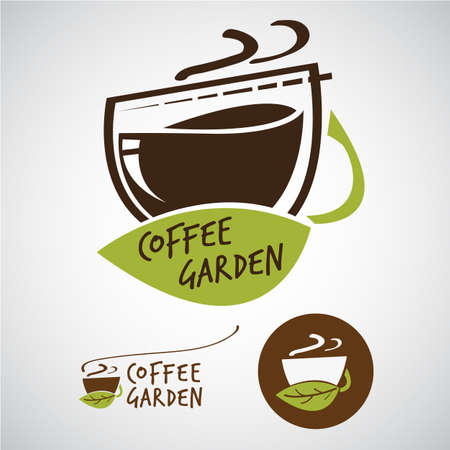 Coffee garden logo concept - vector illustration