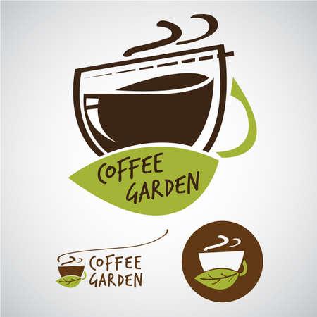 Coffee garden logo concept - vector illustration