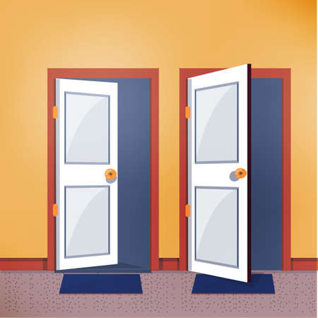 close and open door - vector illustration Stock Illustratie