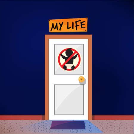 子供のサインのないドア。子供はいらない子供の概念なしで結婚しました。自由寿命 - ベクトルイラスト