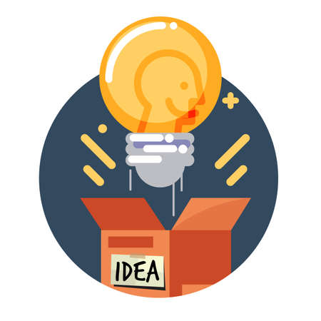 Light bulb of idea bouncing from the box. Creativity concept vector illustration.