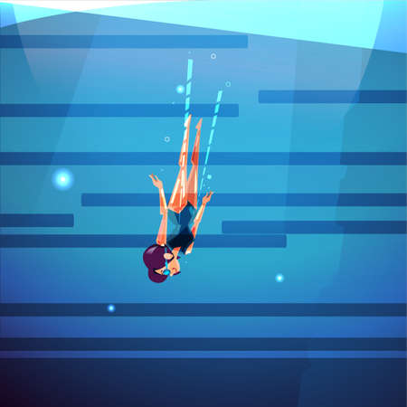 Free diving girl into the bottom of ocean or sea diving vector illustration. Illustration
