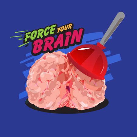 human brain with plunger and text  Force your brain   - vector illustration