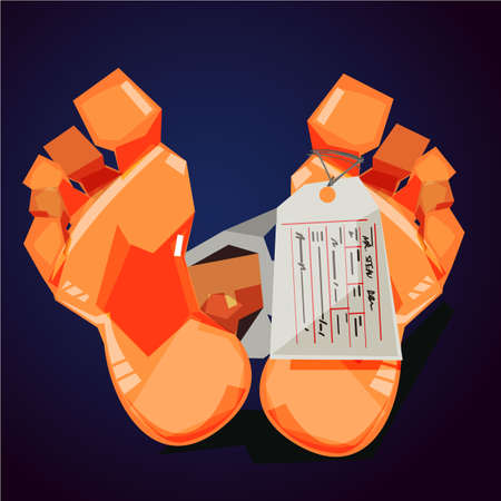 Feet with toe tag, dead people, mortuary vector illustration.