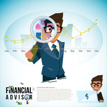 Financial adviser with magnifier and profit graph vector illustration.