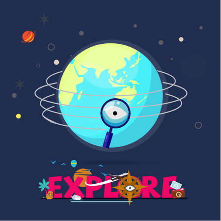 Magnifier flying around the world, explorer concept for header design vector illustration. Foto de archivo - 99464919