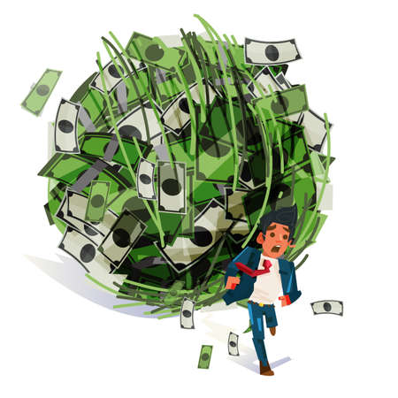 Worry businessman run away from big money ball. debt, tax or financial crisis concept - vector illustration