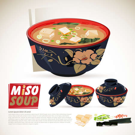 miso soup in traditional japanese bowl set. ingredients. logotype - vector illustration