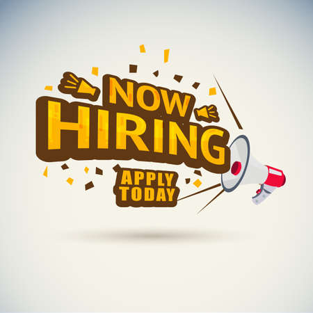 megaphone shout with Now hiring typographic. announce for the job - vector illustration Illustration