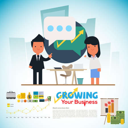 business man or manager teach and talk together to office women. share and learn for business plan - vector illustration