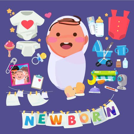 Newborn baby character with set of kid care accessory. typographic for header design - vector illustration
