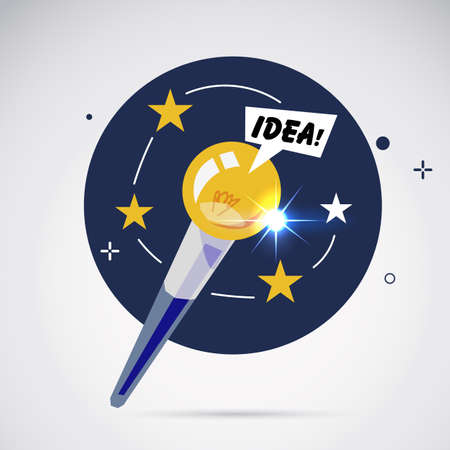 Magic wand with lightbulb of idea. making magic idea concept - vector illustration  イラスト・ベクター素材