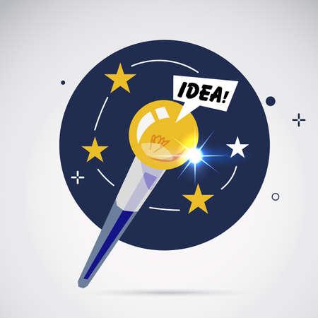 Magic wand with lightbulb of idea. making magic idea concept - vector illustration Illustration