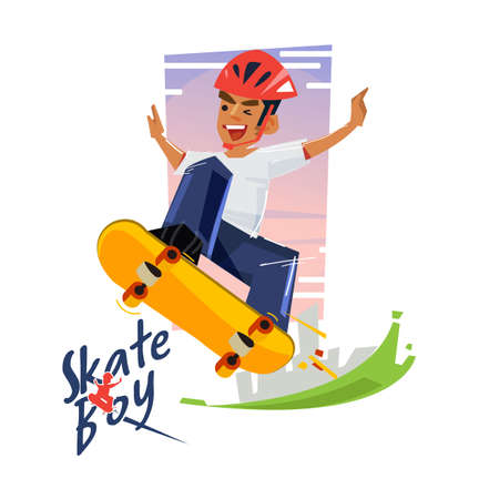 Skater boy with his skateboard. Character design with icon vector illustration. Illustration