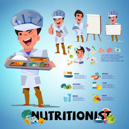 conception de caractères nutritionniste dans diverses actions illustration vectorielle