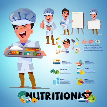 Nutritionist character design in various actions vector illustration.